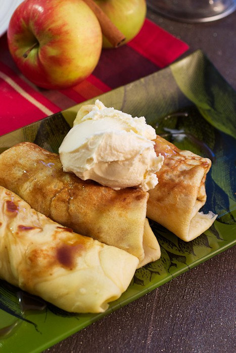 Apple Pie Crepes with Rum Butterscotch Sauce