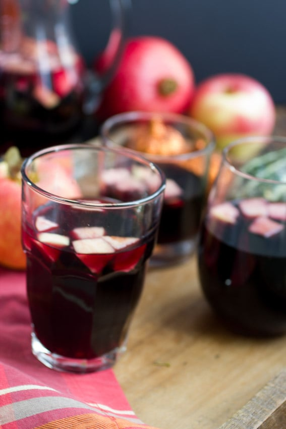 Apple Pomegranate Sangria- The Girl In the Little Red Kitchen