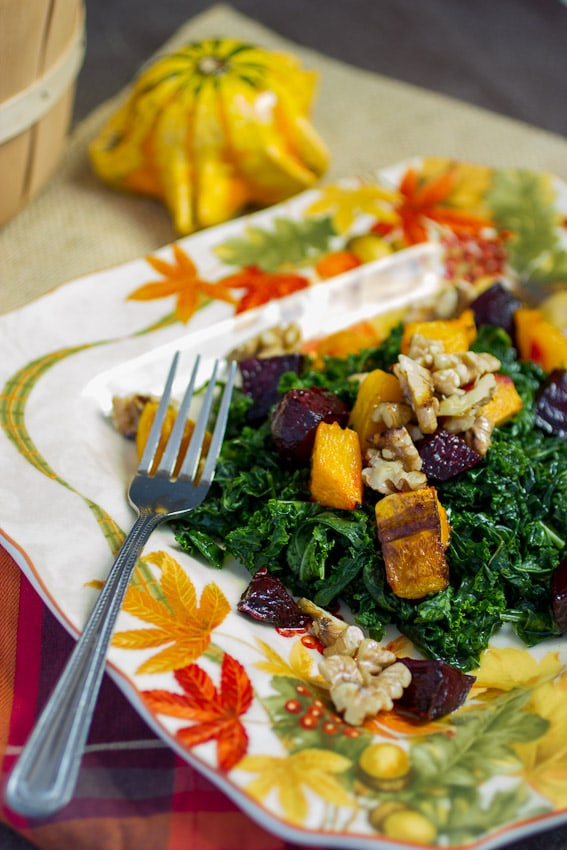 Massaged Kale Salad with Butternut Squash and Beets from The Girl In The Little Red Kitchen