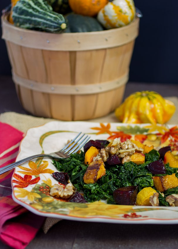 Massaged Kale Salad with Butternut Squash and Beets - The Girl In The Little Red Kitchen