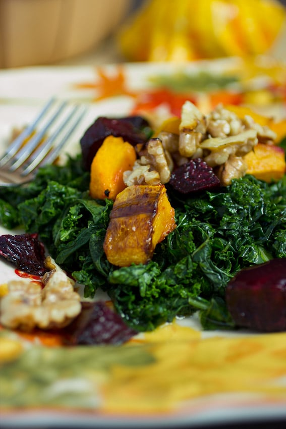 Massaged Kale Salad with Roasted Butternut Squash and Beets from The Girl In the Little Red Kitchen