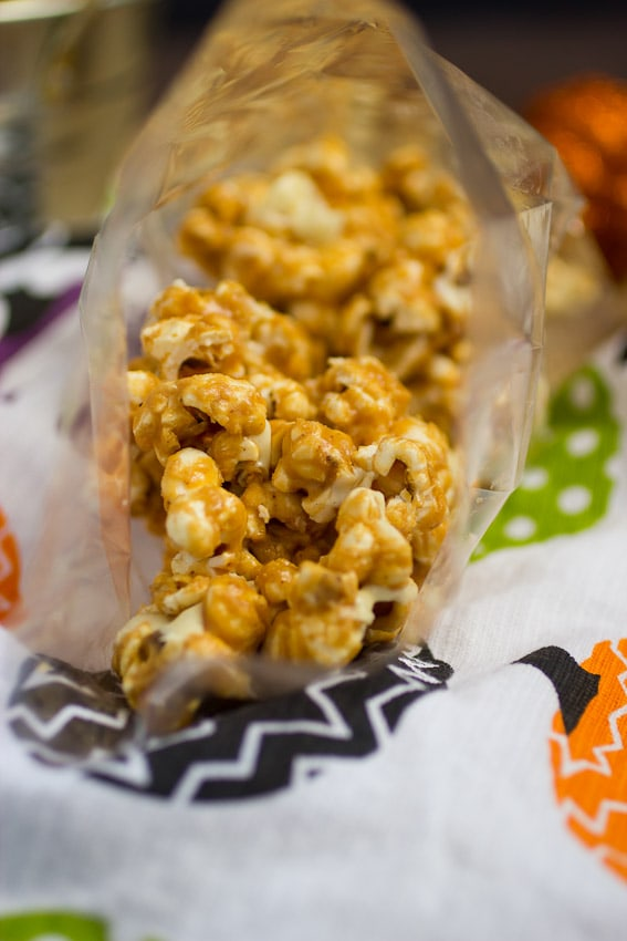 Peanut Butter White Chocolate Popcorn for Halloween | The Girl In The Little Red Kitchen