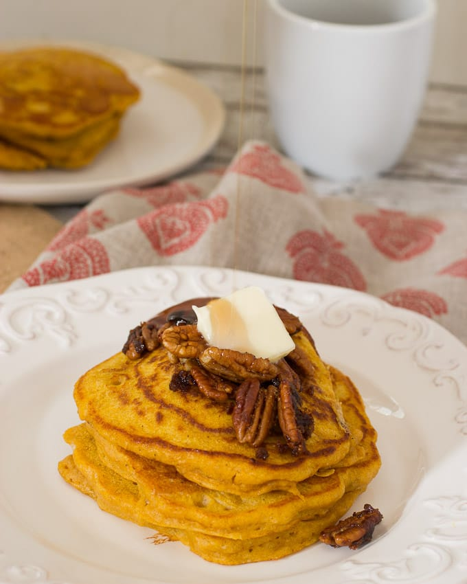 Pecan Pumpkin Oat Pancakes- The Girl In The Little Red Kitchen