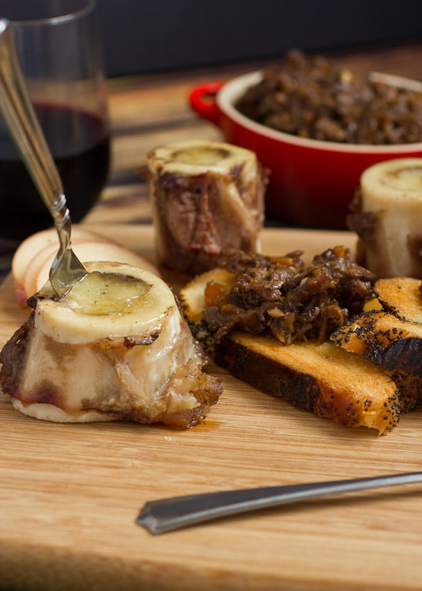 Roasted Bone Marrow with Oxtail Marmalade- The Girl In The Little Red Kitchen