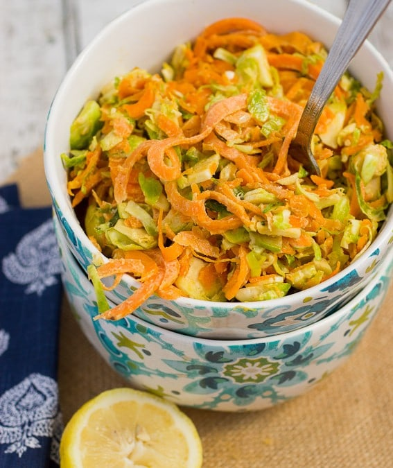 Sweet Potato Noodles and Brussels Sprouts Salad with Lemon Tahini Dressing #SundaySupper