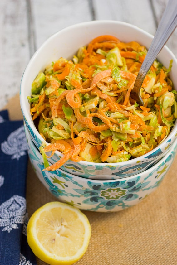 Sweet Potato Noodles and Brussels Sprouts Salad #SundaySupper from The Girl In the Little Red Kitchen