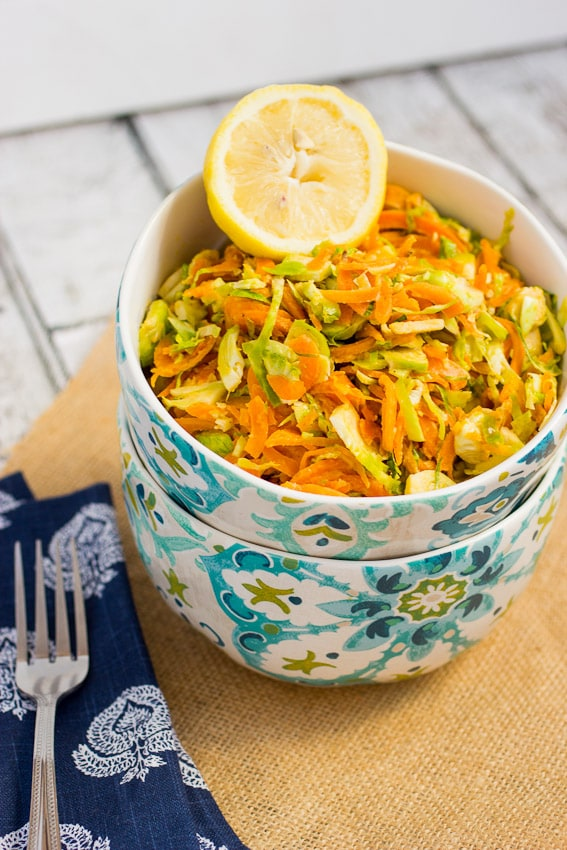 Sweet Potato Noodle and Brussels Sprouts Salad with Lemon Tahini Dressing | The Girl In The Little Red KItchen