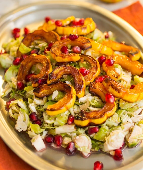 Brussels Sprouts, Squash and Pomegranate Salad