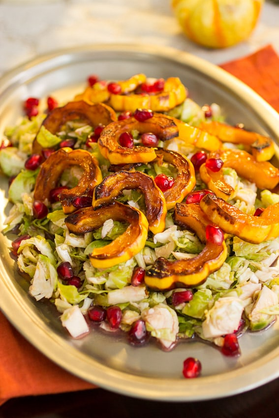 Brussels Sprouts Squash and Pomegranate Salad from The Girl In The Little Red Kitchen