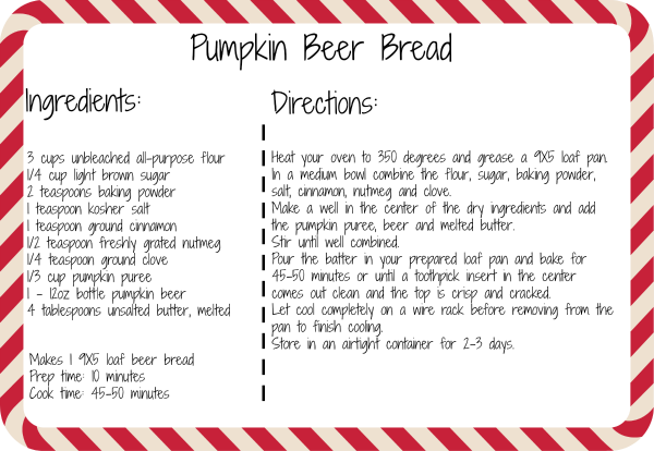 Pumpkin Beer Bread Recipe Printable