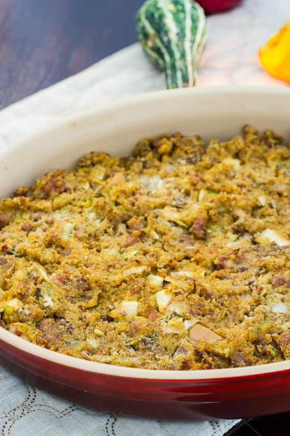 Spicy Maple Sausage Cornbread Stuffing from The Girl In the Little Red Kitchen