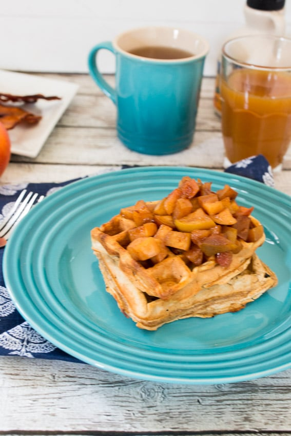 Apple Cider Waffles | girlinthelittleredkitchen.com