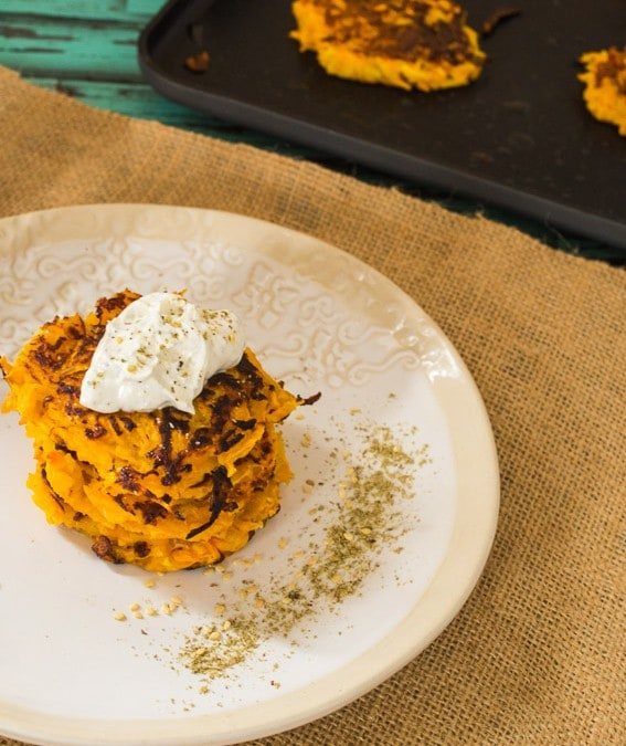 Butternut Squash Latkes with Za'atar and Labneh {Plus a OXO Non-stick Square Griddle Giveaway!}