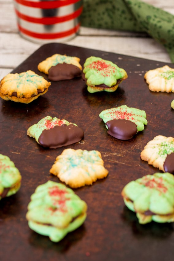 Peppermint Spritz Cookies | girlinthelittleredkitchen.com