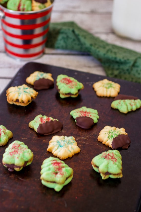 Peppermint Spritz Cookies | The Girl In The Little Red Kitchen