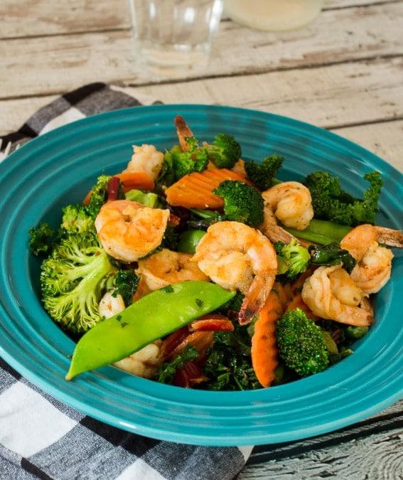 Shrimp, Kale and Red Chard Stir Fry