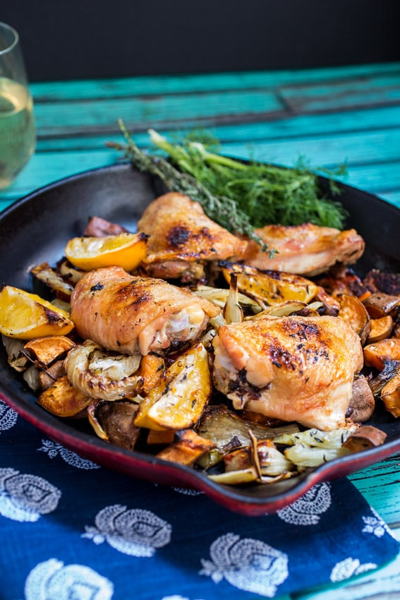 Roasted Meyer Lemon Chicken Thighs, Fennel & Sweet Potato- The Girl In The Little Red Kitchen