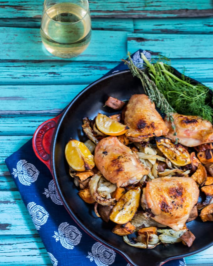 Roasted Meyer Lemon Chicken Thighs, Fennel & Sweet Potato | girlinthelittleredkitchen.com