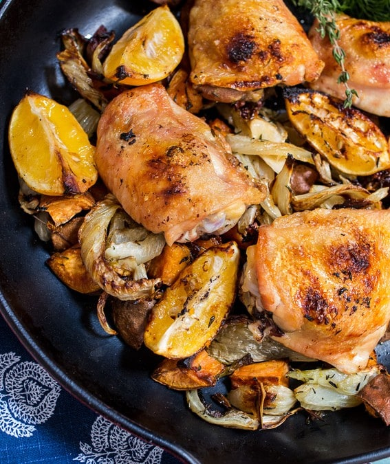 Meyer Lemon Roasted Chicken Thighs, Fennel and Sweet Potatoes #SundaySupper