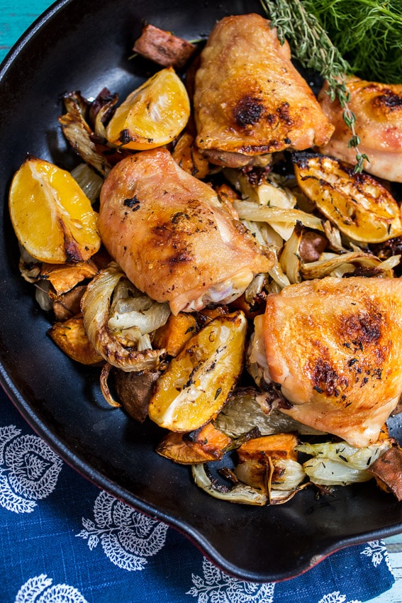 Roasted Meyer Lemon Chicken Thighs, Fennel & Sweet Potato #SundaySupper from The Girl In The Little Red Kitchen