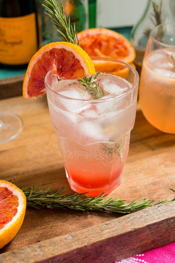Blood Orange Rosemary Spritzer  | girlinthelittleredkitchen.com
