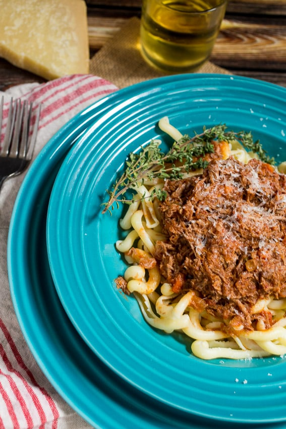 Braised Lamb Ragu in the slow cooker | girlinthelittleredkitchen.com