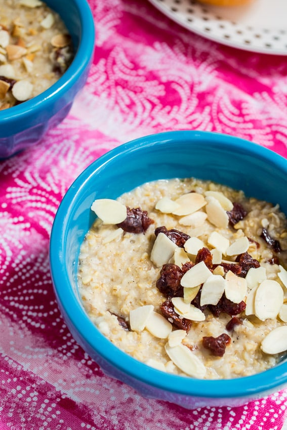 Cherry Almond Vanilla Steel Cut Oats {Slow Cooker} l from The Girl In The Little Red Kitchen