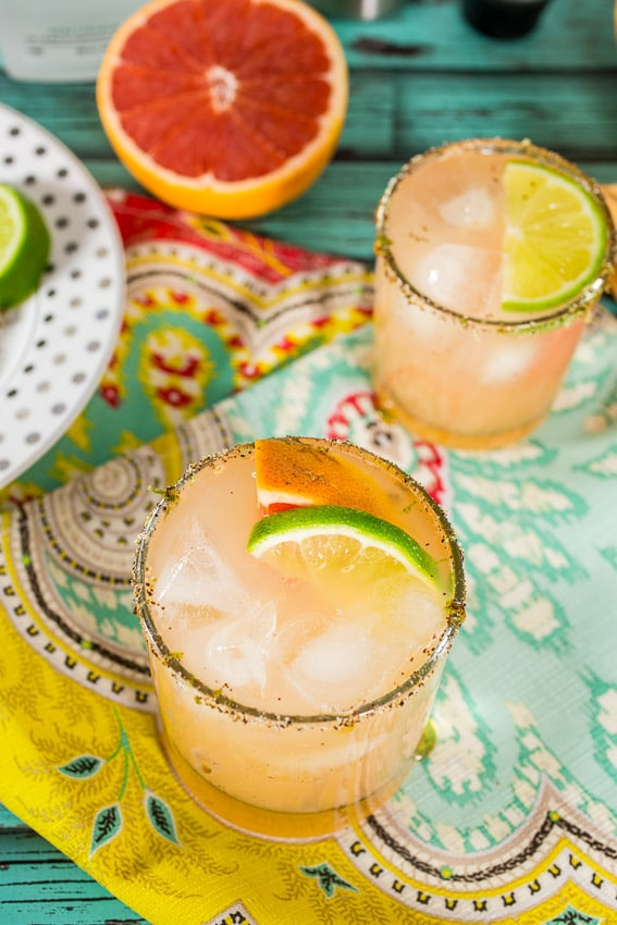 Grapefruit Margarita with Chile Lime Rim from The Girl In The Little Red Kitchen