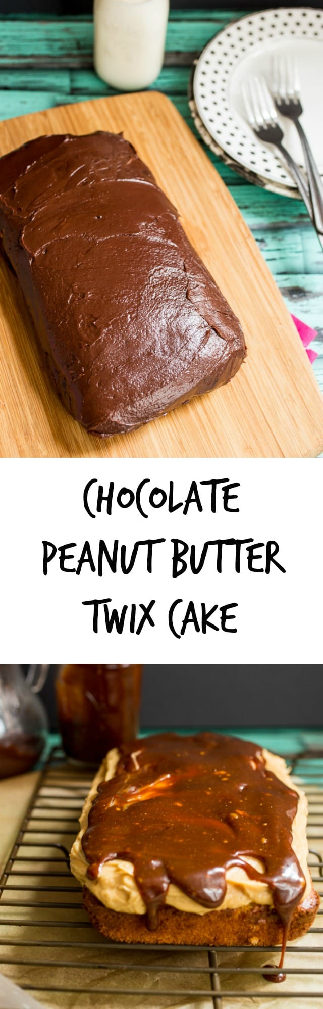 Chocolate Peanut Butter Twix Cake | girlinthelittleredkitchen.com