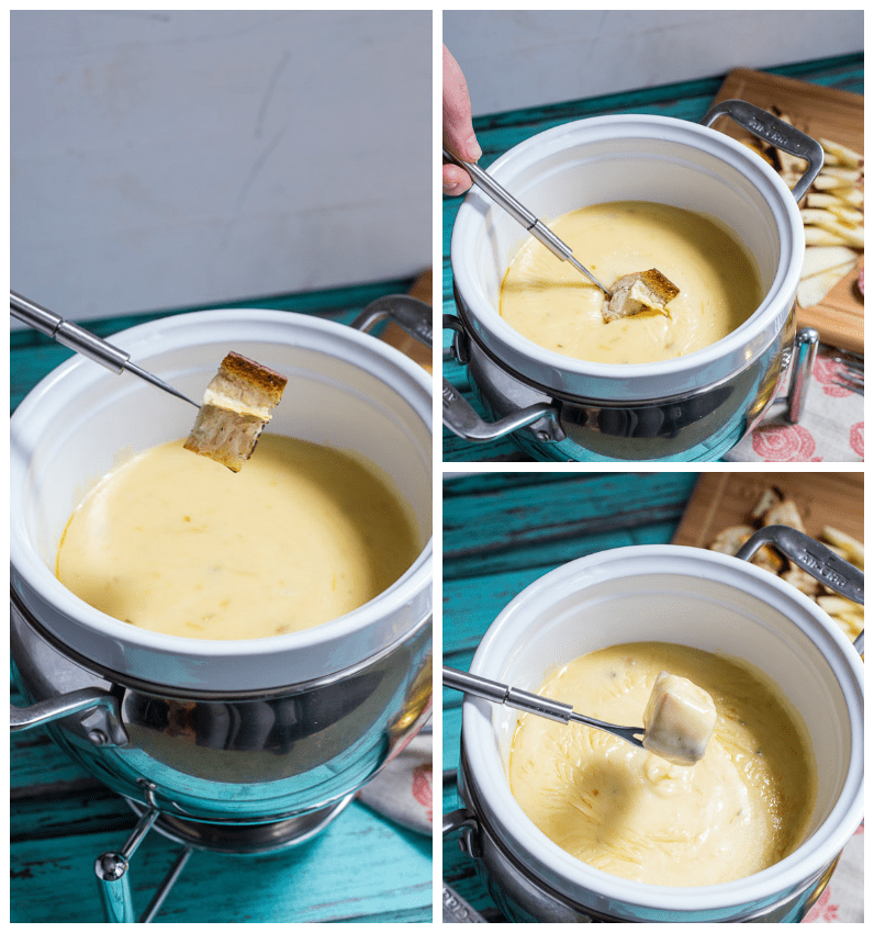 Roasted Garlic  Cheese Fondue-Collage | girlinthelittleredkitchen.com