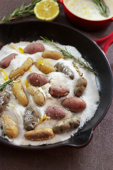 Lemon Rosemary Salt Roasted Fingerlings | girlinthelittleredkitchen.com