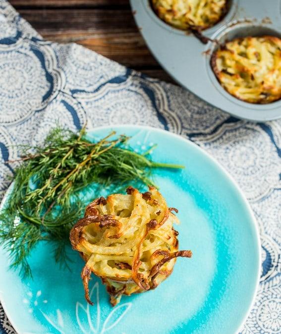 Spiralized Potato and Fennel Kugel