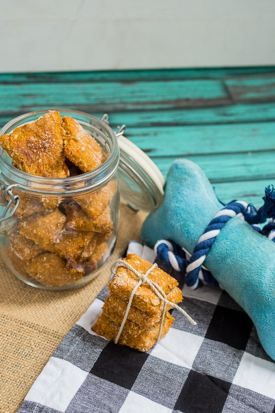 Sweet Potato Banana Dog Treats  | girlinthelittleredkitchen.com