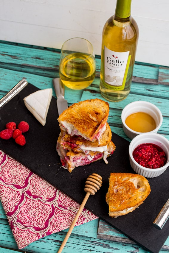 Brie Raspberry and Honey Grilled Cheese | girlinthelittleredkitchen.com