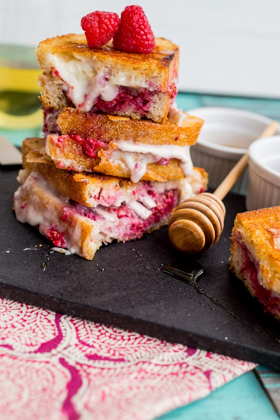 Brie Raspberry and Honey Grilled Cheese #SundaySupper from The Girl In the Little Red Kitchen