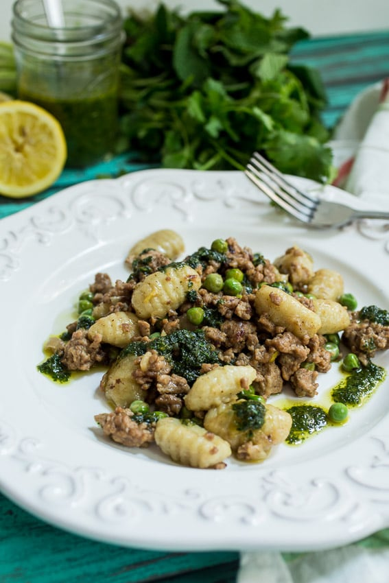 Gnocchi with Lamb, Peas and Pesto | girlinthelittleredkitchen.com