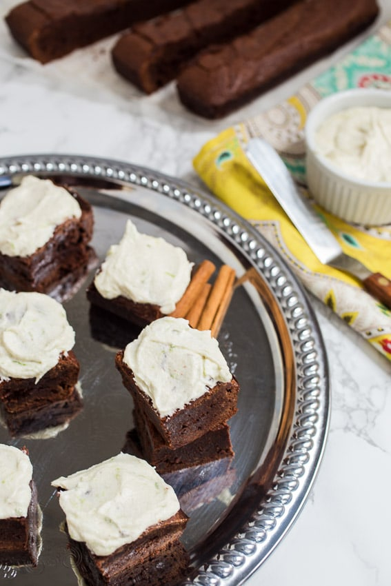 Mexican Chocolate Brownies with Tequila Lime Buttercream from The Girl In The Little Red Kitchen