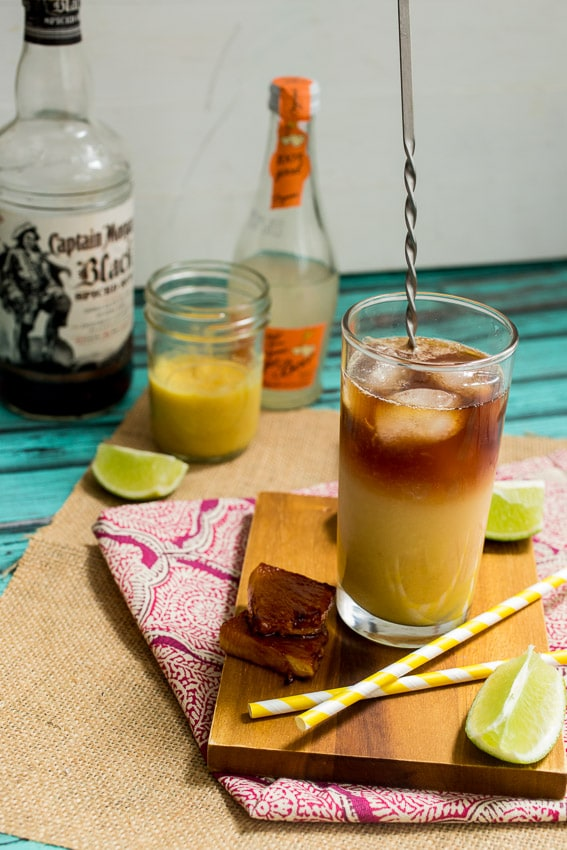 Pineapple Dark and Stormy | girlinthelittleredkitchen.com