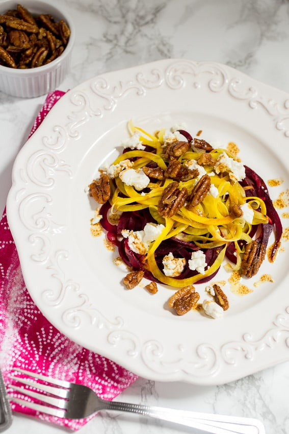 Spiralized Beet and Goat Cheese Salad | girlinthelittleredkitchen.com