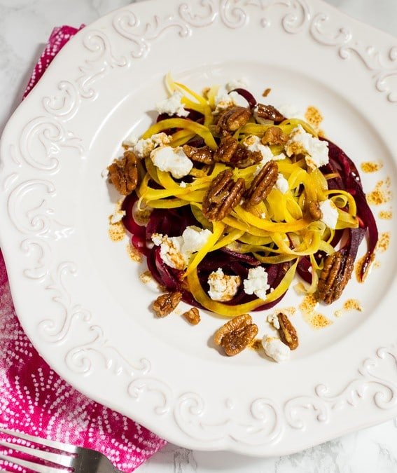 Spiralized Beet and Goat Cheese Salad #SundaySupper
