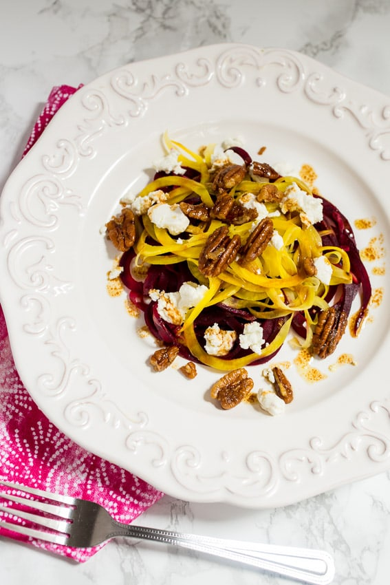 Spiralized Beet and Goat Cheese Salad from The Girl In The Little Red Kitchen