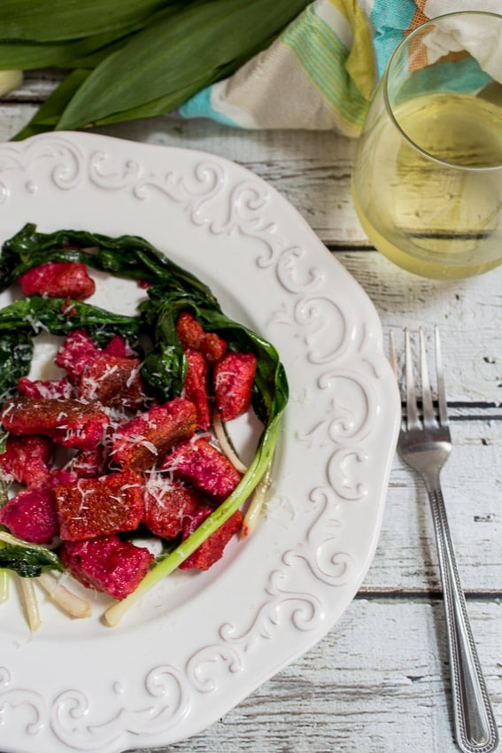 Beet Ricotta Gnocchi with Ramps | girlinthelittleredkitchen.com