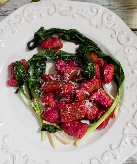 Beet Ricotta Gnocchi with Ramps