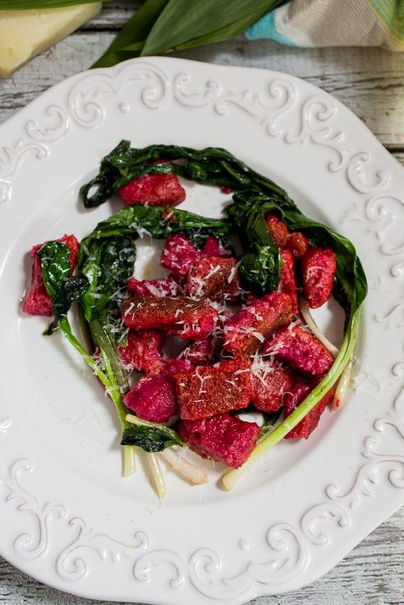 Beet Ricotta Gnocchi with Ramps from The Girl In The Little Red Kitchen