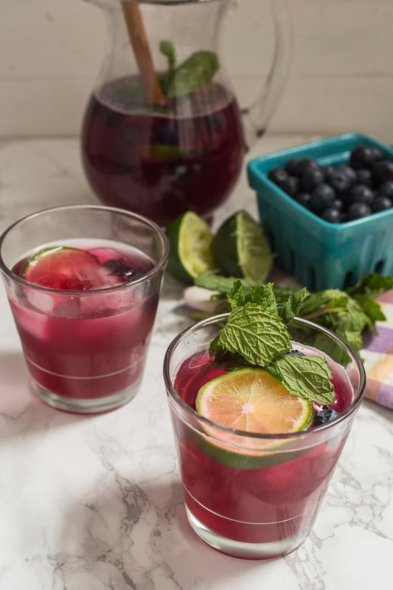 Blueberry Mint Sangria | girlinthelittleredkitchen.com