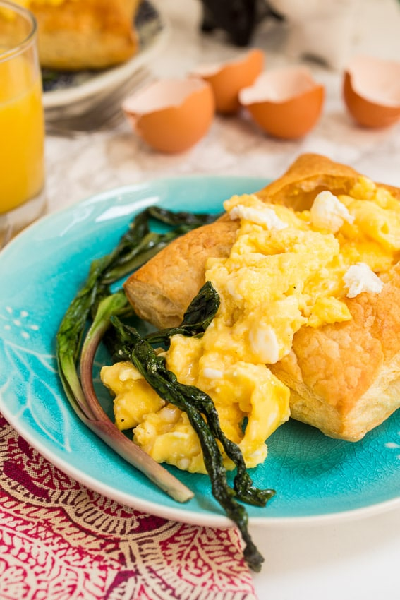 Goat Cheese Scrambled Eggs with Ramps | girlinthelittleredkitchen.com