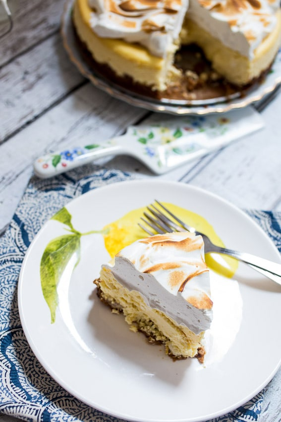 Lemon Drop Meringue Cheesecake from The Girl In The Little Red Kitchen
