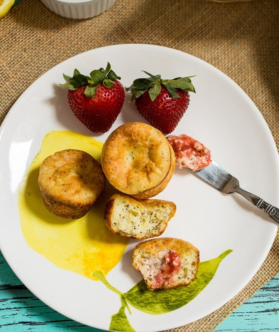 Miniature Lemon Poppy Popovers with Strawberry Butter