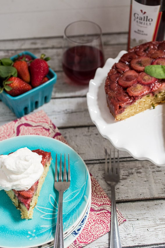 Strawberry Basil Upside Down Cake | girlinthelittleredkitchen.com