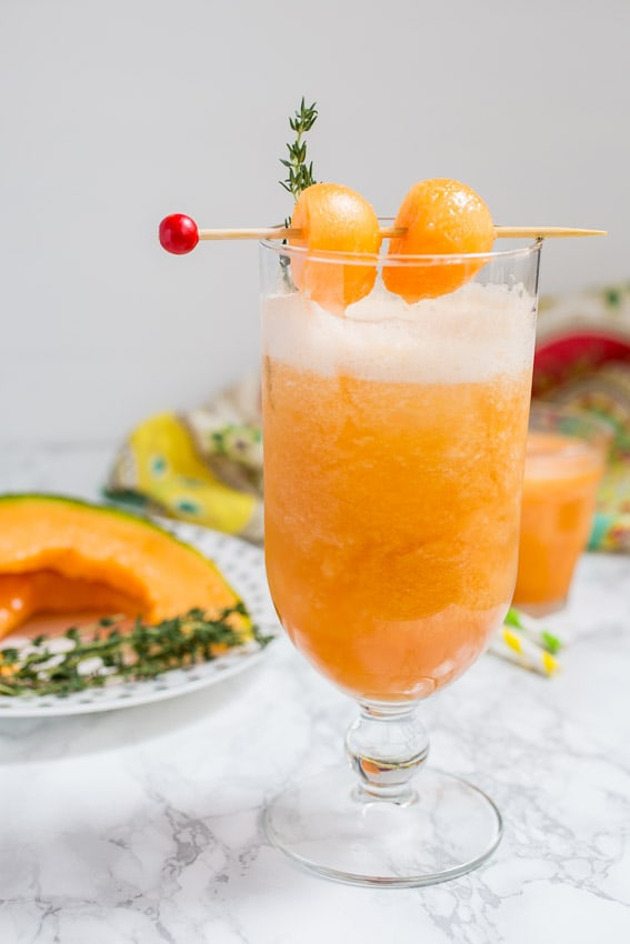 Cantaloupe Tequila Spritzer from The Girl In The Little Red Kitchen